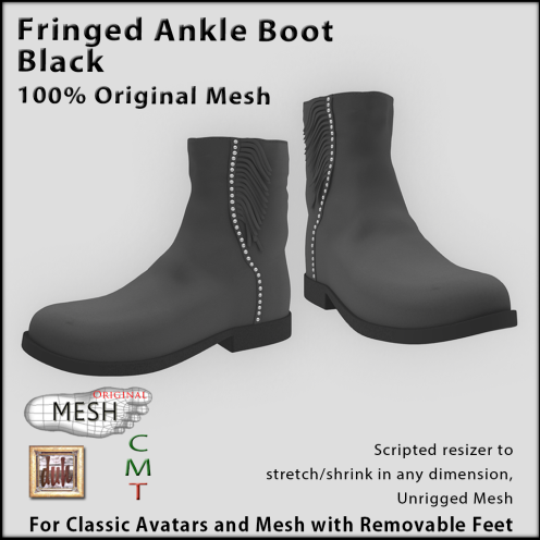 Fringed black ankle boot vendor