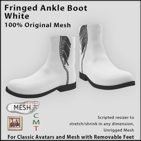 Fringed white ankle boot vendor
